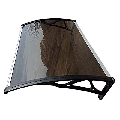 Door Window Canopy Awning Shelter Patio Shade Canopy PC Endurance Board, Protection from Sunlight, Rain, Snow for Door and Window Patio Cover Shelter (Color : Brown+Black Bracket, Size : 80X100cm)