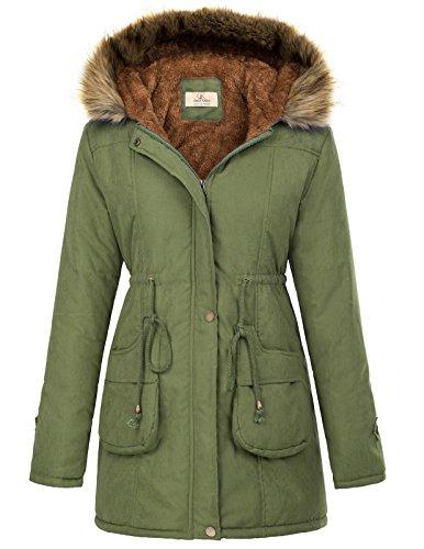 GRACE KARIN Women's Winter Thicken Jacket Hooded Parka Outwear XL Army Green