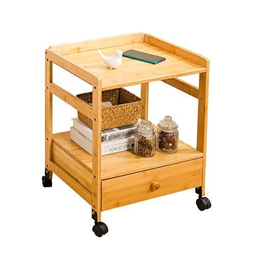 Tables FEI - Bureau d'ordinateur de Chevet de Chevet tiroir de Chevet de Chevet tiroir de Chevet étagère pour Chambre Salon Bambou avec Roues 46.5 * 38 * 52 cm pour Tous Le