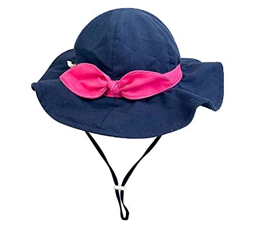 VUCDXOP Cappello da Sole per Bambini, Cappello da Sole di Bowknot Bambino Regolabile Tesa Larga Cappello Protezione Solare UPF 50 Cappello Viaggio Spiaggia Esterno Cappello per Ragazza Ragazzo