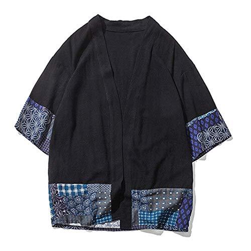 YOUTH BURST Tai Chi Kleidung Chinesischer Stil Tang Anzug Hanfu Retro Ethnischer Stil Verbesserter Herren Loose Chinese Cotton Cardigan Jacke Umhang,L-Black