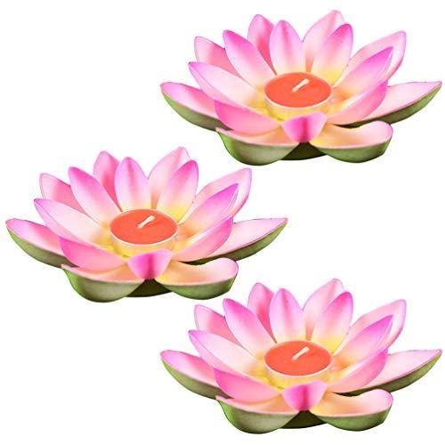 Angoily 3 Unids Flor de Loto Vela Luces de Té Velas Flotantes Lámpara de Noche Piscina Jardín Pecera Decoración de La Boda Rosa
