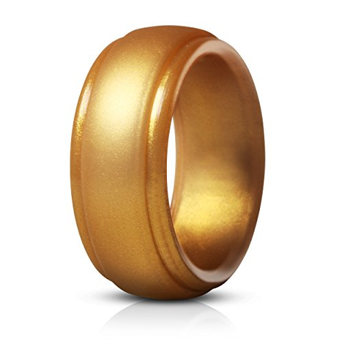 Saco Band Silicone Rings for Men - Single Rubber Wedding Bands (Shiny...