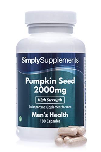Semillas de calabaza 2000mg - ¡Bote para 6 meses! - Apto para veganos - 180 Cápsulas - SimplySupplements