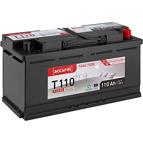 Accurat 12V 110Ah Nass Batterie Versorgungsbatterie (wartungsfrei) in 6 Varianten: 90-260Ah