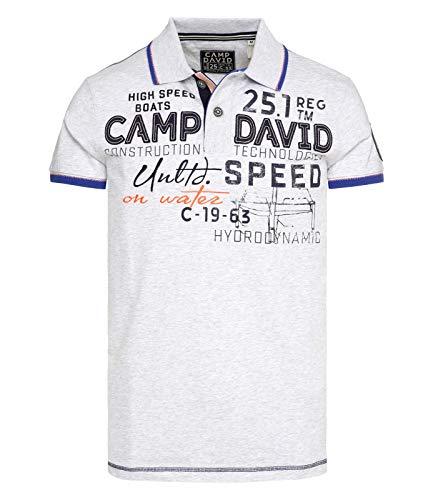 Camp David Poloshirt aus Piquee mit großem Artwork White Melange L