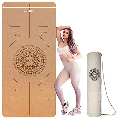 72x32inch 6mm Esterilla Yoga Antideslizante de Corcho Deporte Esterilla Pilates Colchoneta de Yoga Fitness para Entrenamiento y Entrenamiento físico
