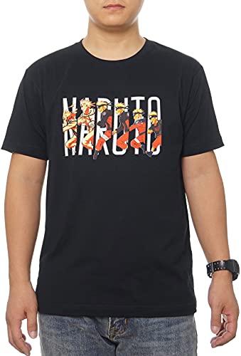 GMYG Anime Naruto Uzumaki Konoha The Nine-Tails Anime Japonés Estampado Gráfico Premium Manga Corta Hombres/Mujeres T-Shirt 100% Camiseta De Algodón (Negro,140)