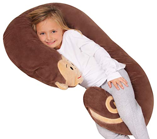 Leachco Snoogle Jr. - Luxuriously Soft Plush Monkey with Zippered Removable Cover – The Snuggle, Cuddle, Animal Body Pillow for...