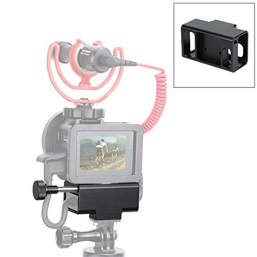 Aluminium camera behuizing Microfoon Adapter CNC Aluminium Beschermend Hoesje Voor GoPro HERO7 /6/5(Zwart), Zwart