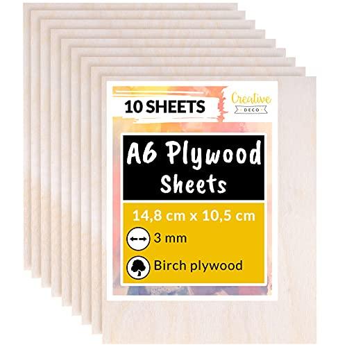Creative Deco 10 x A6 Sperrholzplatte 3mm | 148 x 105 (+/- 0,5) mm | Pappelsperrholz Dünne Holz-Zuschnitte | Perfektes Blatt für Laubsäge, Brandmalerei, Laserschnitt, CNC Router, Durchbrochenes