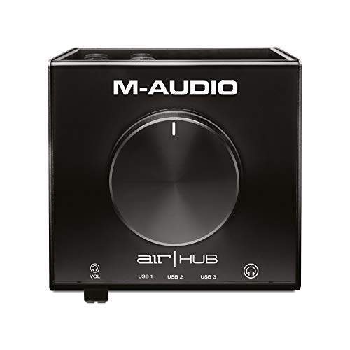 M-Audio AIR | HUB – USB Audio Interface mit 3-Port-Hub und ProTools und Ableton Live Recording-Software mit Studio Effekten & Instrumenten