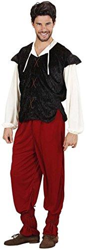 Widmann 35333 - Erwachsenenkostüm mittelalterlicher Gastwirt, Hemd mit Weste, Hose und Schnüre für die Beine, Größe L