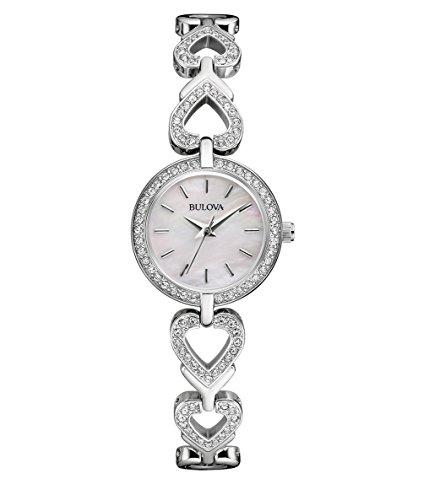 Bulova Crystal 96X136 - Parure regalo orologio & collana design - cinturino in acciaio inox - donna
