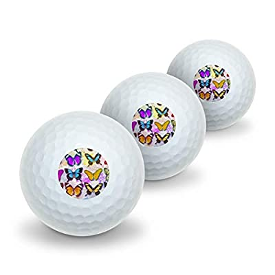GRAPHICS & MORE Colorful Butterflies Butterfly Design Novelty Golf Balls 3 Pack