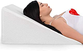 Bed Wedge Pillow With Memory Foam Top – Ideal For Comfortable and Restful Sleeping – Alleviates Neck and Back Pain, Acid Reflux, Snoring, Heartburn, Allergies - Versatile – Removable, Washable Cover