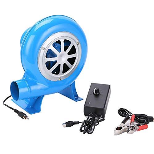 Ayanx Pequeños sopladores de jardín hogar eléctrico de la Estufa de combustión de Barbacoa, con Transformador + línea de Abrazadera de batería 15w a 200w (Azul)