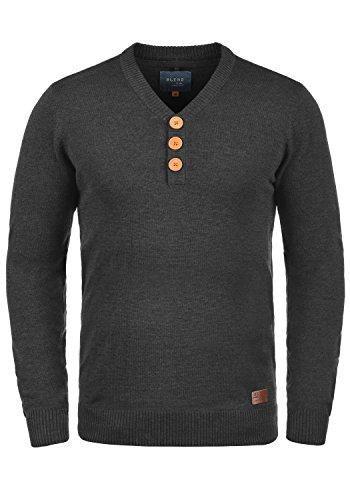 Blend Legolas Herren Strickpullover Feinstrick Pullover Mit V-Ausschnitt Und Knopfleiste, Größe:L, Farbe:Charcoal (70818)