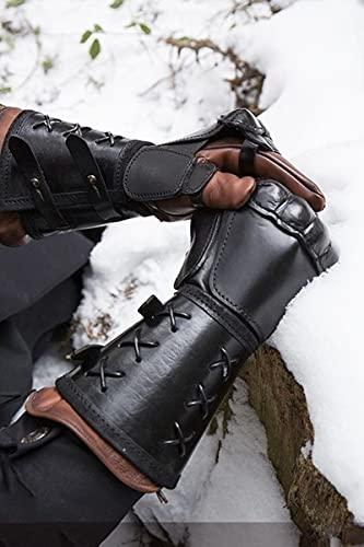 XKMY Brazaletes de guantelete medieval Steampunk para hombres guerrero brazo armadura hebilla de cuero remache Caballero Muñequera Guardia de fiesta (color: negro, tamaño: talla única)
