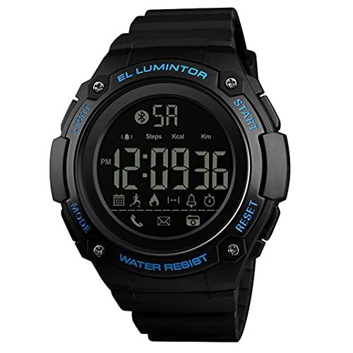 50M Impermeable Reloj Inteligente para Deportes al Aire Libre Reloj de Pulsera Militar Multifuncional para Hombres Relojes con Seguimiento de Actividad física Bluetooth con podómetro (Blue)