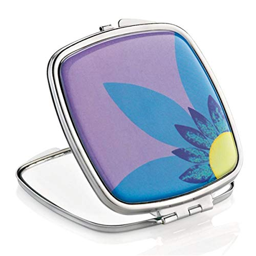 Miroir de Sac Carré Fleur Blue - X2