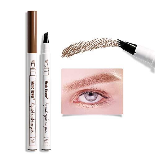 Music Flower Liquid Eyebrow Pen,Tattoo 4 tips Fine Sketch, Microblade pen for eyebrows, Waterproof Long lasting Natural Brows Looking (Reddish Brown)