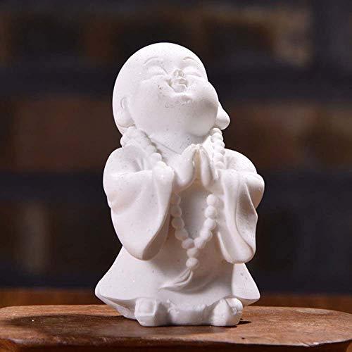 CXHM Muñecas de Piedra Arenisca de jardín, Figura de Monje en Miniatura, Estatua de Buda de Resina, estatuillas de Buda Chino(B White)
