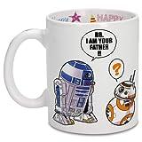 OKIWOKI Taza de cumpleaños con impresión en el asa, en el Interior y en el Exterior - Parodia de Star Wars- R2-D2 y BB-8 (Taza de Primera Calidad - Impresa en Francia - Réf : 862)
