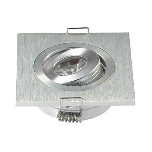 Lámpara empotrada descendente, led, 3W, cuadrada, ajustable, color blanco, 10 unidades