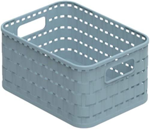 Rotho Country Aufbewahrungskorb 2l in Rattan-Optik, Kunststoff (PP recycelt) BPA-frei, blau, A6/2l (18,3 x 13,7 x 9,8 cm)