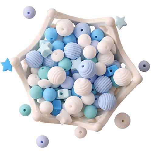 let's make Cuentas de Mordedor de Silicona para Bebé 100pcs sin BPA Dentición de Grado Alimenticio Serie Azul Collar/Pulsera DIY Baby Pacifier Chain Jewelr