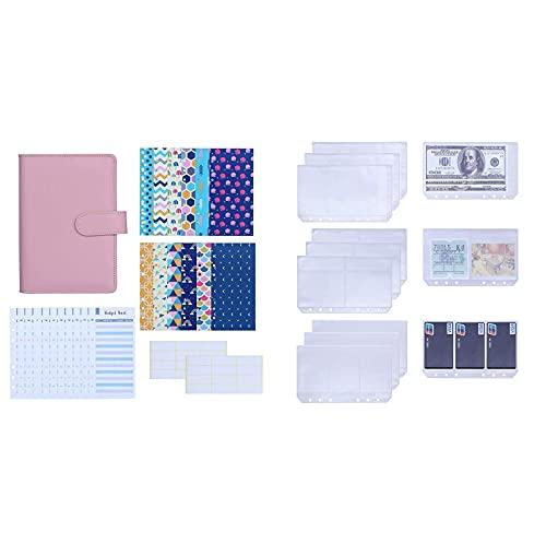 Antner 27pcs A6 PU Leather Binder Budget Cash Envelopes System (Pink) Bundle   12pcs A6 6 Ring Binder Pockets Notebook Refills
