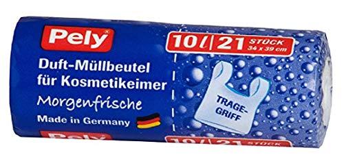 pely 315 Stück Duft Müllbeutel für Kosmetikeimer Morgenfrische, 10 Liter, klimafreundlich, 21 Stück je Rolle. 15 Rollen im Karton. Für Kosmetikstudio, Friseur, Bad