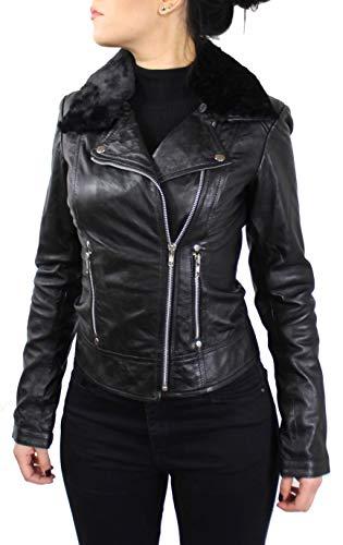 Lederjacke Sara - Damen Jacke aus echt Lamm Leder in schwarz mit Fell (wahlweise Teddyfell oder schwarzes Fell) (Schwarz - Schwarzes Fell, S)