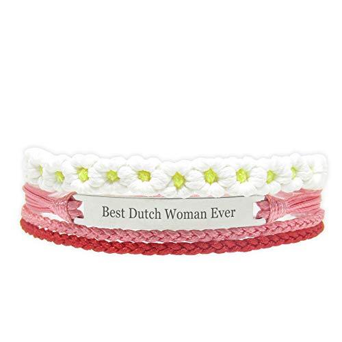 Miiras Handgemachtes Armband für Frauen - Best Dutch Woman Ever - Rot - Aus Geflochtenes Seil und Rostfreier Stahl - Geschenk für Holländerin