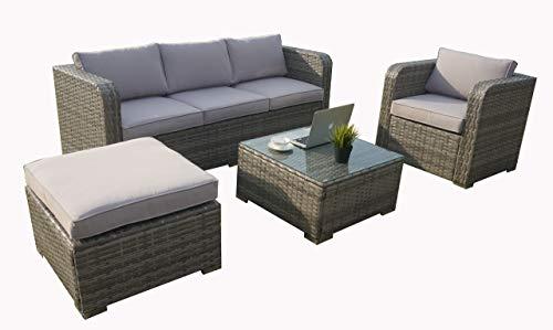 PolyRattan Gartenmöbel Sofa Lounge Couchtisch Set mit Regenschutz für 5 Personen, Garten und Terrasse Set, Gemischt Grau