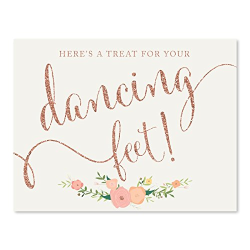 Andaz Press Wedding Party Signs, Faux Rose Gold Glitter with Florals, 8.5x11-inch, Here's a Treat for Your Dancing Feet! Flip Flop Sandals High Heels Shoes Dance Floor Reception Sign, 1-Pack