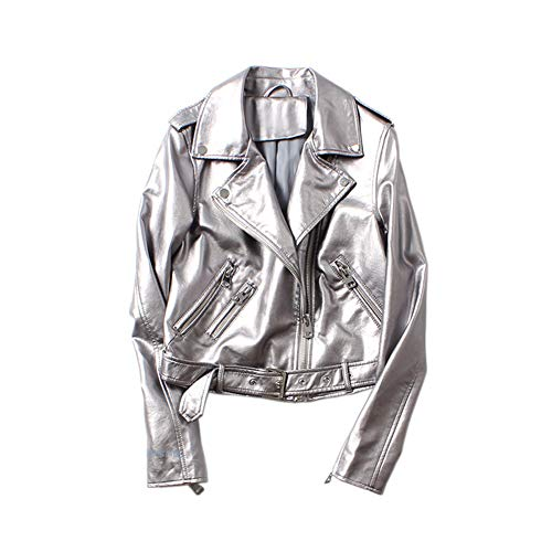 GuoCu Damen Revers Silberne PU Lederjacke Modischer Kurz Jacke Mantel Klassische Kunstlederjacke Lässige Reißverschluss Motorradjacke Bikerjacke Frühling College Jacke Bomberjacke Cropped Tops S