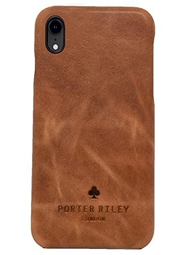 Porter Riley - Lederhülle für iPhone XR. Premium Ultra Dünn Echtleder Cover/Ledertasche/Backcover kompatibel mit iPhone XR (Hellbraun)