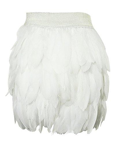 keland Damen Echte natürliche Feder Mitte Taille Mini A-Linie Rock (Weiß, S)