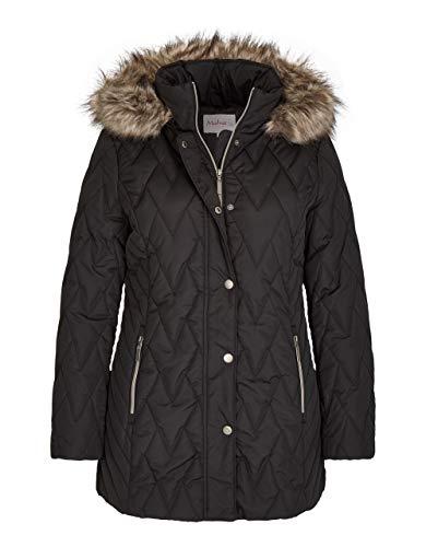 Malva by Adler Mode Damen Lange Steppjacke mit Abnehmbarer Kapuze schwarz 42