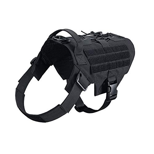 EXCELLENT ELITE SPANKER Dog Harness Tactical Military Dog Harness Adjustable No-Pull Dog Harness Training Hunting Dog Tactical Vest with Handle(BLK-M)
