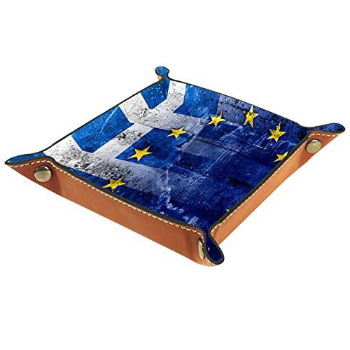 Caja de almacenamiento multiusos con bandeja valet de cuero 16x16CM Organizador de bandejas Se utiliza para almacenar pequeños accesorios.Bandera de Grecia y la Unión Europea