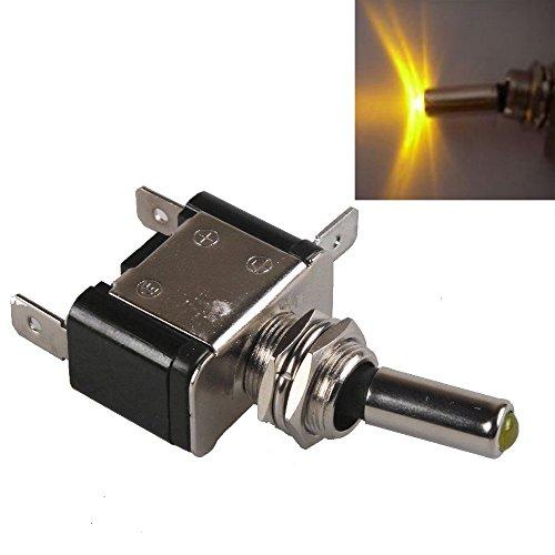 Mintice™ 12V 20A LED jaune Commutateur à bascule de lumière Commutateur interrupteur à bascule SPST ON/OFF bateau de voiture