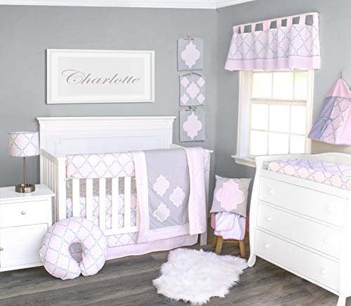 Baby Crib Bedding Set - Pink Medallion - Nursery Crib Bedding Sets for Girl Soft Quality Material with Vibrant Colors for a Dream Nursery Room - 13 Piece Baby Crib Set by Pam Grace