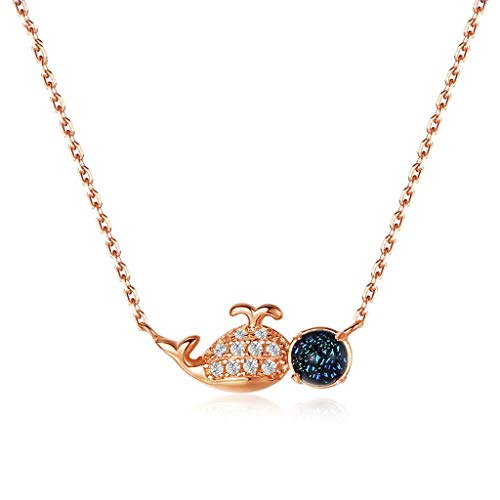 caihuashopping Collares de Mujer de Moda Collar Colgante de Oro Rosa Ballena Ballena de Plata esterlina de 18 Pulgadas Collar Dia De La Madre Regalos