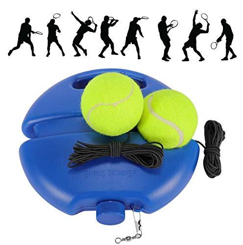 Fostoy Entrenador de Tenis, Equipo de Entrenador de Tenis Profesional con Elástica Goma y 2 Pelotas de Rebote para Entrenamiento Solo para Niños Adultos Principiantes, (Blue)