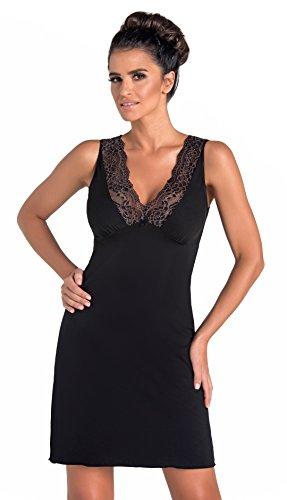 Donna verführerisches und sehr edles Nachthemd/Negligee/Sleepshirt mit eleganter Spitze (S (36), Schwarz)