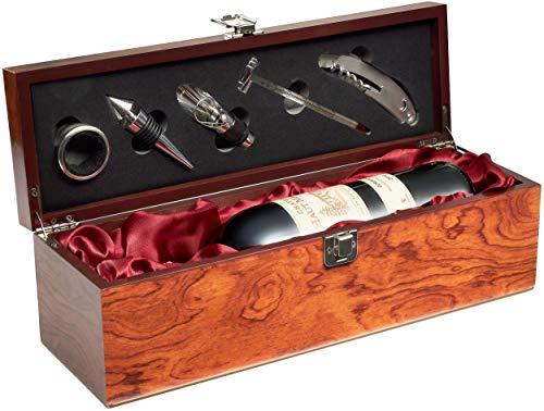 Geschenkset Weinset mit 1 Flasche Rotwein Jahrgang 2010 Château Haut Maurin - in Weinkiste mit Sommelierset