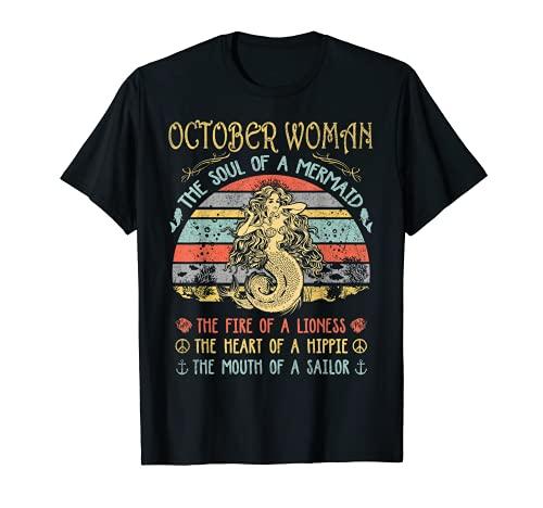 Octubre Mujer El Alma De Una Sirena Vintage Cumpleaños Camiseta